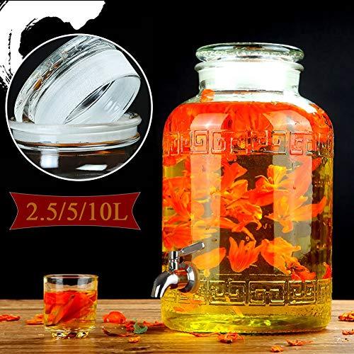 Hyxqyjp drankdispenser van glas met lekvrije spiegel en houten standaard, voor thuisontspanning, voor spelletjes, biers, pons, koude dranken