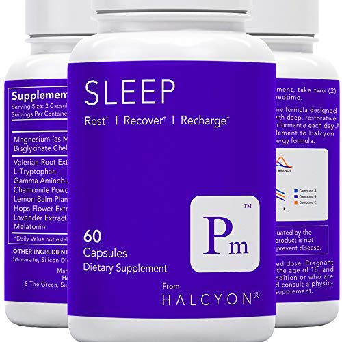 Halcyon Sleep | Natural Sleep Aid - Stress, Anxiety & Insomnia Relief - Adrenal Fatigue Supplement | Fall Asleep Faster & Wake Up Energized - Valerian Root & Melatonin Sleeping Pills