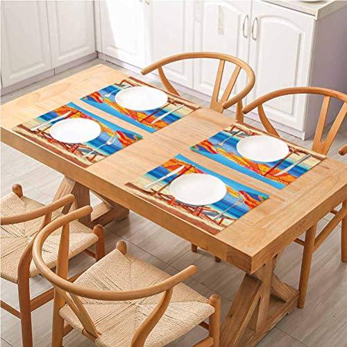 FloraGrantnan - Set di 6 tappetini per tavolo da pranzo, in cotone e lino, decorazione per la casa, sedie a sdraio con vista sul mare tropicale di T, facili da pulire
