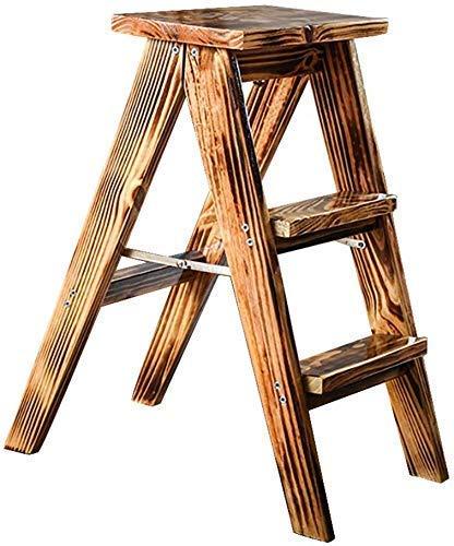 YZjk Einfach und Multifunktions Bequem Klapp Trittleiter, Leiter Hocker Tragbare Trittleiter aus Holz, Haushalt 3-Stufen, Küchenhochhocker Bank (Retro Farbe)