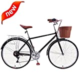 JHDUID Women's Single-Speed 7 Speed Beach Cruiser Bicycle High Carbon Steel Frame Bicycles City Bike Dutch...