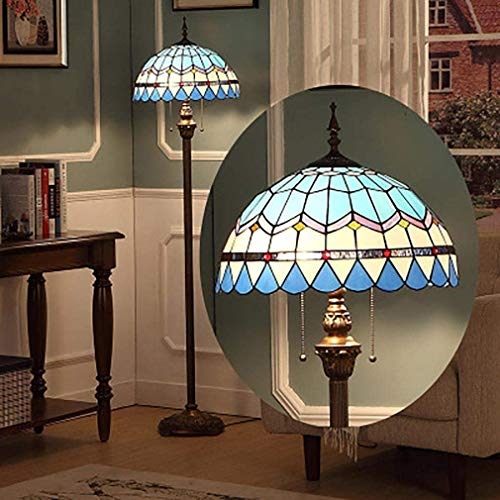 LAMP-XUE 16 inch Tiffany-stijl vloerlamp, Middellandse Zee-blauw bont glas leesplafondlamp LED vloerlamp voor slaapkamer woonkamer kantoor
