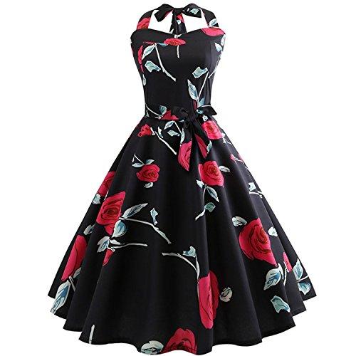 Dami-shop Attractive Vintage Dress Summer Women Robe Rockabilly Swing Pinup Vestidos Party Dresses,X-Large,Dfxarg-05