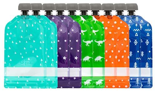 Simple Modern Joey Bolsitas de Alimento Reutilizables Para Bebés y Niños con Doble Cremallera Bolsas de Comida Paquete de 10 bolsas de 150ml Recargables Congelables y Aptos para Lavavajillas Surtido 1