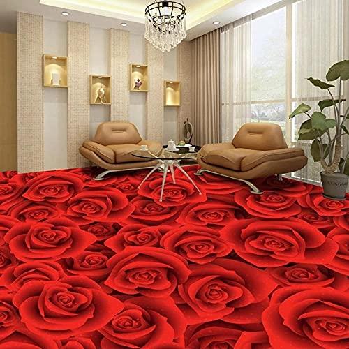 Papel tapiz de suelo 3D personalizado, flor de rosa roja, sala de estar, dormitorio, baño, pegatina, Mural autoadhesivo, impermeable, 150x105cm