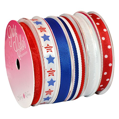Morex Ribbon Sweet Petite Ribbon, 39-Yd, Patriotic, 6 Count