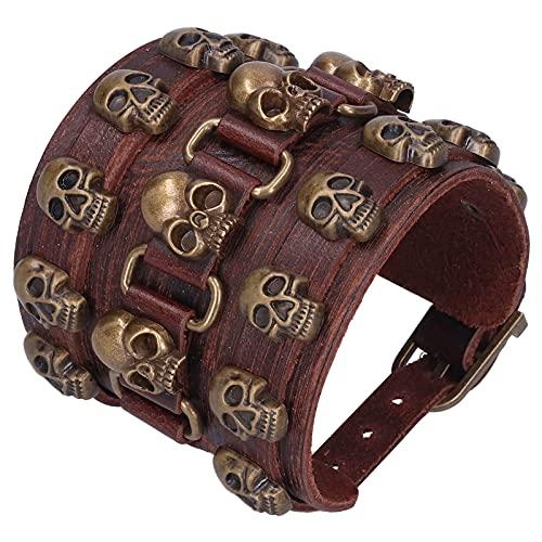 Pulsera de cuero dividido, pulsera trenzada, hebilla ajustable, decoración de mano, joyería punk para hombres y mujeres