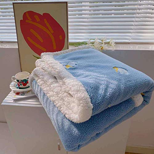 XUMINGLSJ Blanket Double/Twin Size Fleece Bed Blankets Warm Fluffy Reversible Microfiber Solid Blankets for Bed and Couch -blue_110*150cm