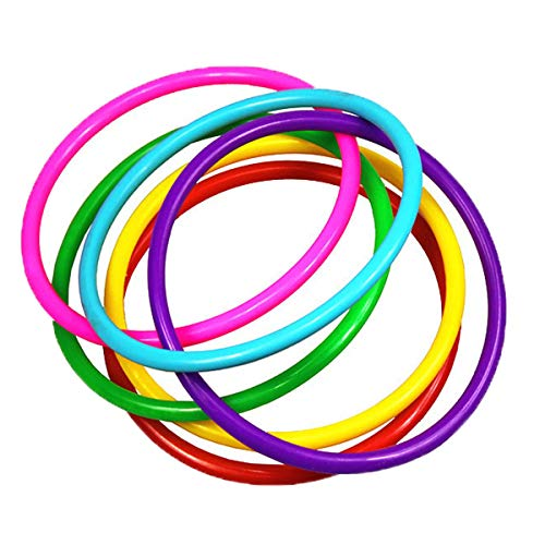 OBTANIM 12 Pcs Plastic Ring Toss Game for Kids and Outdoor Toss Rings for Speed and Agility Practice Games, Random Colors (4.7 inch)