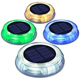 Solar Deck Light Ground Lights- Solar Powered Outdoor Waterproof Led Ground Lights for Dock Stair Garden Yard, Path,Patio Step Driveway 4 Pack (Multi-Colored)