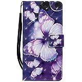 Sunrive Hülle Für Lenovo Moto G4 Play, Magnetisch Schaltfläche Ledertasche Schutzhülle Etui Leder Hülle Cover Handyhülle Tasche Schalen Lederhülle MEHRWEG(W16 Schmetterling 1)