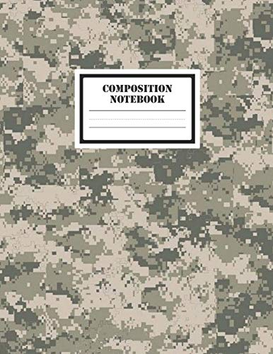 """Composition Notebook: A Cool Modern Military Desert Digital Camo Camouflage Lovers Practice Writing Journal, A Blank 8.5x11"""" Half Page Composition ... Space With 120 Practice Pages For School"""