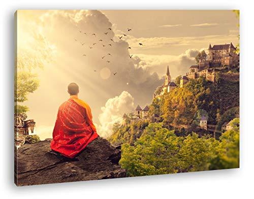 deyoli Buddhistischer Mönch Format: 120x80 als Leinwandbild, Motiv fertig gerahmt auf Echtholzrahmen, Hochwertiger Digitaldruck mit Rahmen, Kein Poster oder Plakat