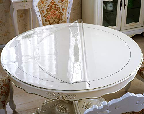 OstepDecor New Version Clear 43 Inches Round Table Cover, Plastic Round Table Protector, Round Table Pad, Heavy Duty Table Top Cover, Clear Table Cover Protector