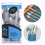 Alaskaprint Juego de cubiertos de acero inoxidable con cuchillo tenedor cuchara cucharadita de cubiertos pulido espejo apto para lavavajillas de 24 piezas servicio para 24 (Plata con azul)