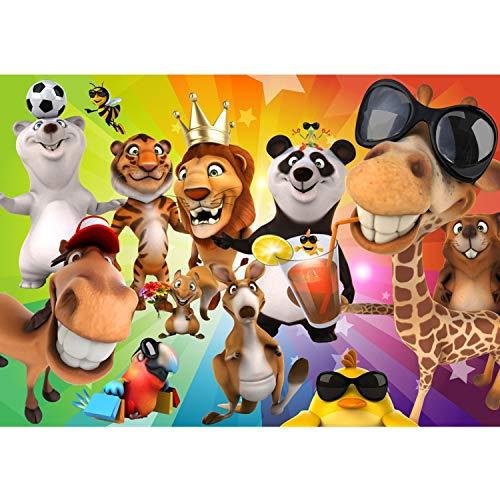 Vlies Fototapete PREMIUM PLUS Wand Foto Tapete Wand Bild Vliestapete - SAFARI PARTY ANIMALS - Kinderzimmer Kindertapete Zoo Tiere Safari Comic Party Dschungel - no. 088, Größe:350x245cm Vlies