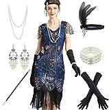 Women 1920s Sequins Gatsby Cocktail Flapper Plus Dresses 20s Headband Accessories Set Blue (Apparel)