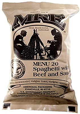 Spaghetti w/Meat Sauce MRE Meal - Genuine US Military Surplus Inspection Date 2020 and Up