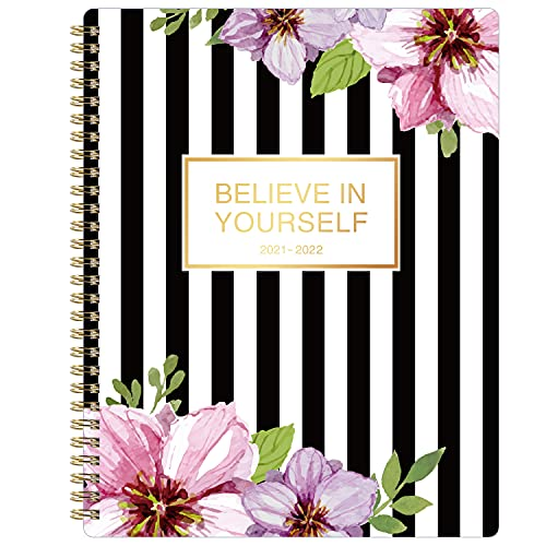 2021-2022 Planner - Academic Planner 2021-2022, Weekly & Monthly Planner from July 2021 - June 2022, 8  x 10 , Flexible Floral Cover with Premium White Paper