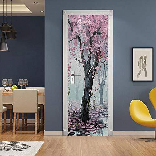 Gzltd Adhesivos para puertas Hojas rosadas 3D Papel pintado PVC Impermeable y a prueba de aceite,adecuado para decoración de puertas sala de estar,dormitorio,cocina y baño 77x200cm