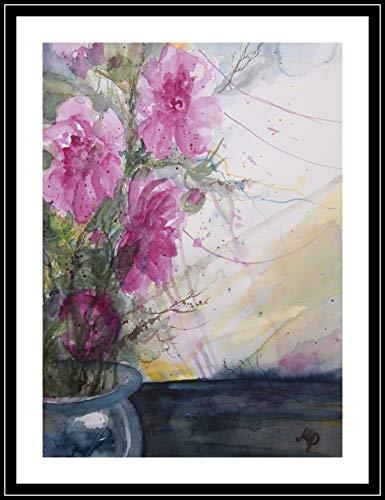 Pfingstrosen in Vase 36x51 cm original Aquarell