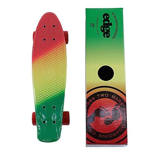 Two Bare Feet skateboard Cruiser completo fonde verde giallo rosso 55,9cm
