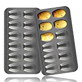 2 Pack Madeleine Pan, OAMCEG 12 Cavity Heavy Duty Shell Shape Baking Mold Nonstick Cookie/Cake/Scone Pan Whoopie Pie Pan for Oven Baking