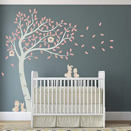 Luxe Grote Pastel Gekleurde Konijn Konijn met Vogelhuisjes Thema Boom Kwekerij Kamer Muursticker WP03