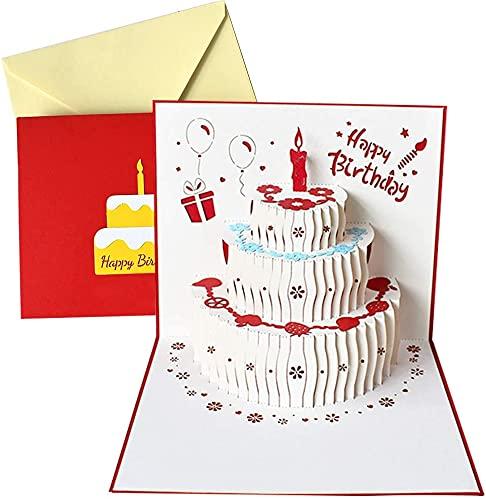 Pop up-kort, handgjord födelsedag 3D pop up födelsedagskort för kvinnor män barn med kuvert laserskärning presentkort Coldiroch