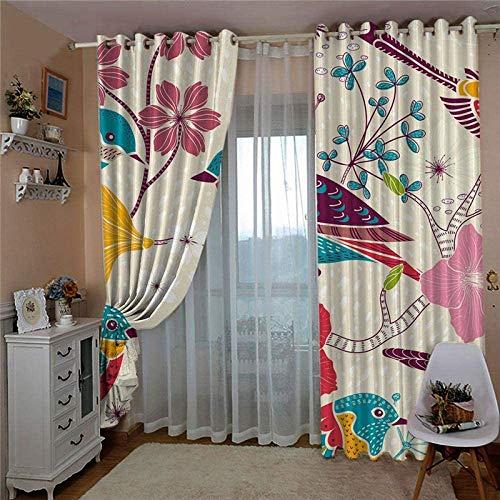HHJJ Cortinas aisladas térmicas sólidas de color y pájaros para dormitorio, sala de estar, oscurecimiento y reducción de ruido, plisadas – Citadel (tamaño: 336 x 183 cm)