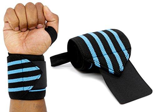 MyGadget Elastische Handgelenk Bandagen - 2X Sport Handgelenkbandage (Daumenschlaufe) Kompression für Fitness, Bodybuilding, Tennis & Kraftsport - Blau