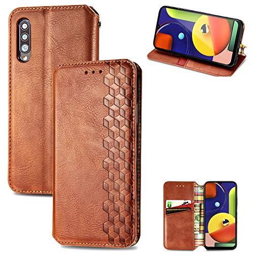 Handyhülle für Samsung Galaxy A50 Hülle Silikon Premium Leder PU Schutzhülle Flip Klapphülle Magnetisch Standfunktion Brieftasche Krokodilmuster Ledertasche mit Galaxy A50 (Braun)