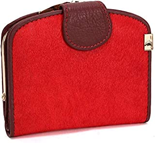 Leather Women's Wallet Long Horsehair Leather Women's Wallet Clutch Wallet Women's Fashion Hand Wallet Waterproof (Color : Red, Size : S)