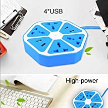JSTBUY LABEL Hexagon Electrical Extension Cord 4 Surge Power Socket with 4 USB Port for Computer with 6 ft. Wire Protector...