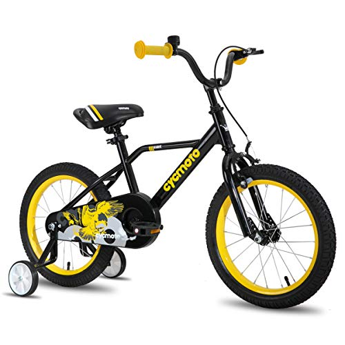 cycmoto 14' Kids Bike with Basket, Hand Brake & Training Wheels for 3 4 5 Years Boys, Toddler Bicycle Black