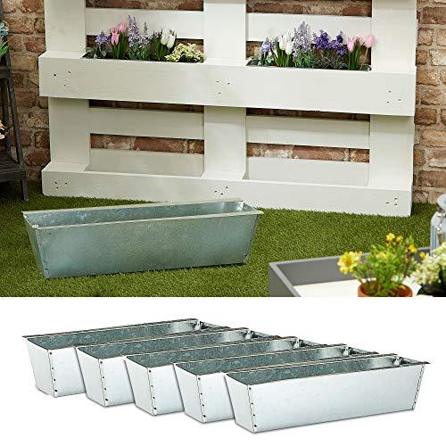 Pflanzkasten 6er Set aus Zink für Europaletten Paletten Pflanzkübel 38x13x9 cm