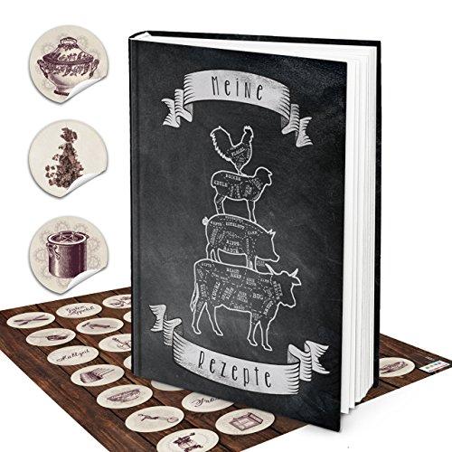 Geschenk-Set Küche XXL Rezeptbuch MEINE Rezepte Buch DIN A4 schwarz weiß Kochbuch Selberschreiben BREMER Stadtmusikanten + vintage Küchen-Aufkleber Etiketten Geschenk Kochen