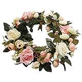 Pauwer Deko Kranz Wandkranz Handgefertigt Kranz Für Outdoor Türkranz Rose Rebe Blumenkranz Künstliche Dekorative Landschaftsbau Kranz (Pinke Rose, Durchmesser 35cm) - 2