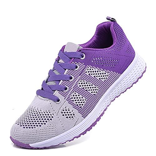 Zapatillas de deporte para mujer, ligeras, para correr, casual, atlética, de moda, para zapatos, de malla, gimnasio, trabajo transpirable, Purple, 37 EU