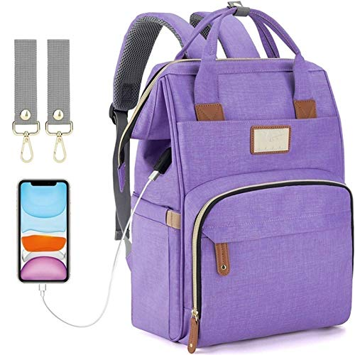 Baby Bottles Diaper Backpacks, Mommy Baby Bag, Waterproof Oxford Style Large Capacity Diaper Bag, with Portable Changing Table and 2 Pieces Baby Carriage Hooks (Color : Purple)
