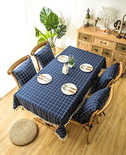XXDD Mantel a Cuadros Elegante con borlas Mantel Impermeable para jardín decoración del hogar Mantel A4 135x135cm