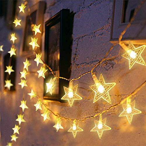 Christmas Star String Lights, 43 ft 70 Led Plug in Fairy Lights for Girls Bedroom Wall Wedding Indoor and Outdoor Decor, 29 v Extendable Waterproof Twinkle Lights with 8 Flashing Modes, Warm White
