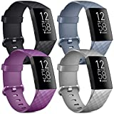 [4 Pack] Soft Silicone Wristbands Compatible with Fitbit Charge 4 Bands, Sports Straps for Fitbit Charge 4 / Charge 3 / SE (Black, Purple, Blue Gray, Gray, Small)