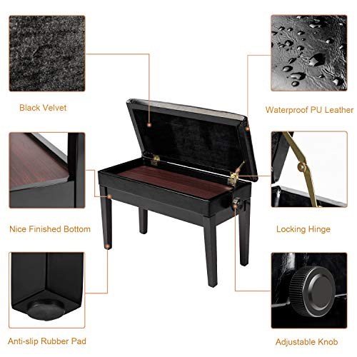 "Bonnlo Adjustable Duet Piano Bench with Storage Black Faux Leather Piano Stool Deluxe Padded Seat with 2"" Thick Cushion"