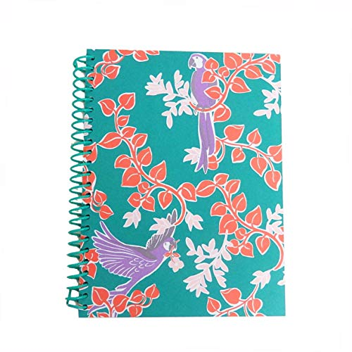 Kate Spade New York Green Mini Spiral Notebook, 8.25' x 6.75' with 112 Lined Pages, Bird Party