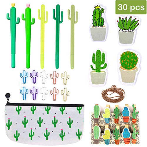 30 Pcs Cactus Pen Stationery Set, Cacti Ballpoint Pen Black Ink Writing Pens with Pencil Pouch Notes Sticker Paper Clip for Home School Supply Gift, Office Supplies