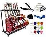 YMC Folding Multiple Guitar Stand for Acoustic Electric Guitar Bass Rack Band Stage,Includes Picks,Pick Holder,String Winder,Bridge Pins,Nut Saddle,String Cutting Plier -7 Holder