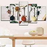 GHKNB ImpresionessobreLienzo,5 Piezas De Perejil De Lienzo E Ingredientes Condimentados Carteles Tienda De Postres O Cocina Decoración De Arte De Pared (Tamaño A)