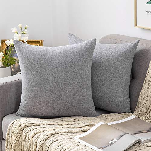 MIULEE 2er Pack Home Dekorative Kissenbezug leinenkissen Kopfkissenbezug Leinen Kiessehülle sofakissen für Sofa Schlafzimmer mit Reißverschlüsse Kissenbezüge 40x40 cm Grau