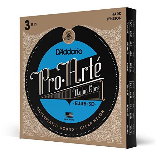 D'Addario EJ46-3D versilberte Nylon Saiten für Konzertgitarre .0285 - .044 Hard Tension (3er Pack) Sparpack